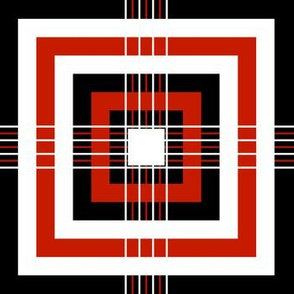 Red Black White Abstract Geometric Pattern