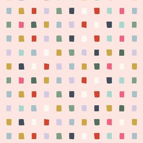 Light Pink Multicolor Rainbow Square Dot Grid - Small