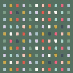Forest Green Multicolor Rainbow Square Dot Grid - Small