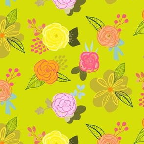 Cutie Spring Floral // Chartreuse