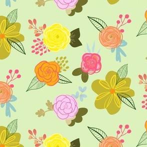 Cutie Spring Floral // Pastel Green