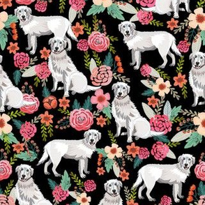 maremma sheepdog floral fabric - dog florals fabric, vintage floral fabric, dog and flowers - black