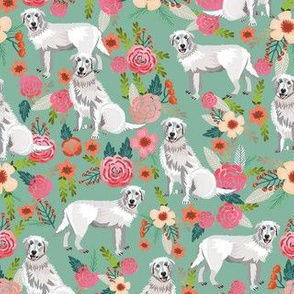maremma sheepdog floral fabric - dog florals fabric, vintage floral fabric, dog and flowers - dusty green