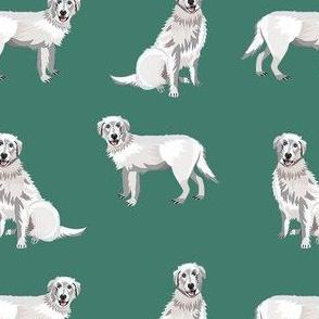 maremma sheepdog fabric - dog fabric, italian sheepdog fabric, white dog - green