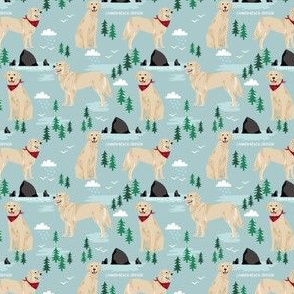SMALL - golden retriever cannon beach fabric - cute dogs on the beach in oregon - blue