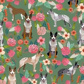 australian koolie dog fabric - german coolie, german collie, australian coolie fabric - dog florals fabric - green