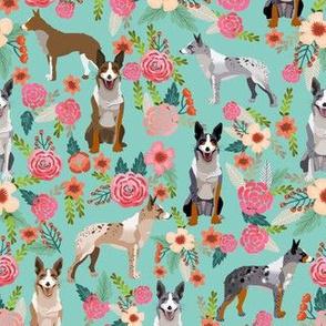 australian koolie dog fabric - german coolie, german collie, australian coolie fabric - dog florals fabric - mint