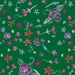 Tiny Fleurs Ditzy Floral // Green