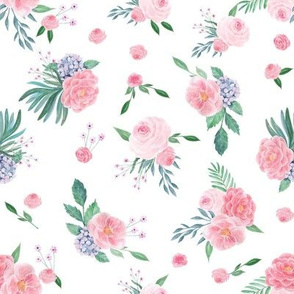 SMALL peony watercolor fabric, pink watercolor fabric, floral watercolor, floral watercolours, pink florals