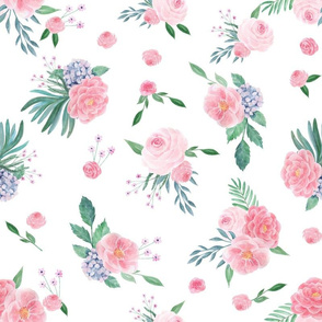 LARGE peony watercolor fabric, pink watercolor fabric, floral watercolor, floral watercolours, pink florals