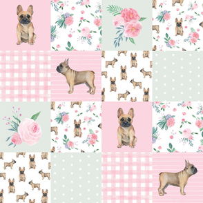 frenchie watercolor quilt - french bulldog quilt, dog quilt, frenchie fabric, dog fabric - wholecloth