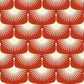 Art Deco Swans - Cream/Vermilion - Brown