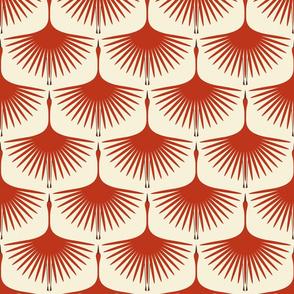 Art Deco Swans - Vermilion/Cream, Brown