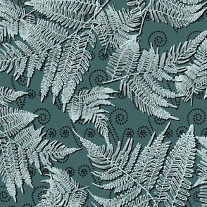 Frosted Fern Leaves in Green by Paducaru