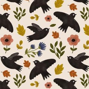 Autumn Birds in Flight