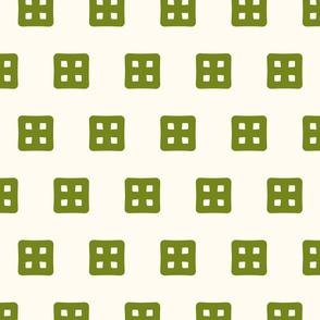 Waffle Windows - Green on Cream - Small