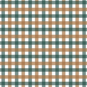 Gingham in Forest Green and Ochre Brown, Small