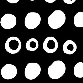 dotty XL white on black doodled ink 500% scale