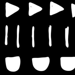 random mix XL white on black doodled ink 500% scale