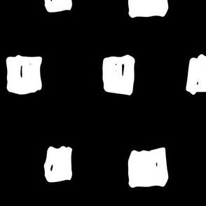 squares XL white on black doodled ink 500% scale