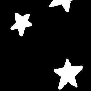 stars XL white on black doodled ink 500% scale