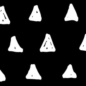 triangles XL white on black doodled ink 500% scale