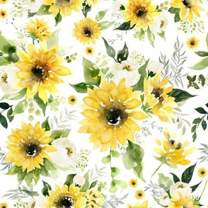 Sunflowers and Roses // White