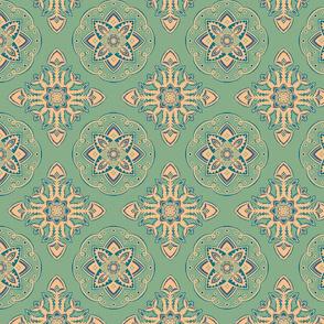Geometric Floral Batik in Mint