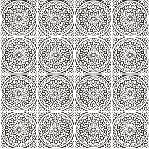 Batik print mosaic tile noir