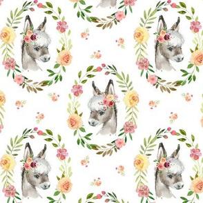 Country Floral Donkey – Girls Bedding Blanket, Pink Peach Blush Flower Wreath