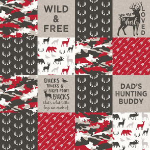 Dad's hunting buddy - Wild & Free/ so deerly loved - woodland patchwork (red) - C20BS