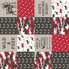 Dad's hunting buddy - Wild & Free/ so deerly loved - woodland patchwork (red) - C20BS (90)