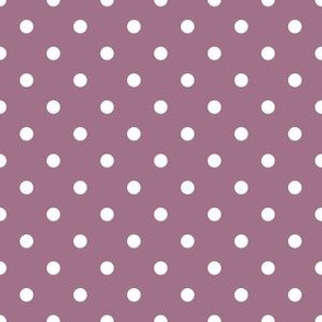 Quarter Inch White Polka Dots on Mauve