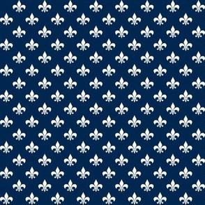 Half Inch White Fleur-de-lis on Navy Blue