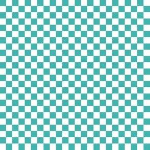 Quarter Inch White and Verdigris Blue Green Checkerboard Squares