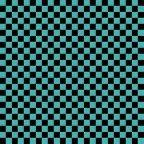 Quarter Inch Black and Verdigris Blue Green Checkerboard Squares