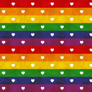 Rainbow flag love hearts, medium stripes