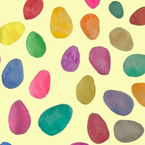 Watercolor Easter Eggs // Pastel Yellow