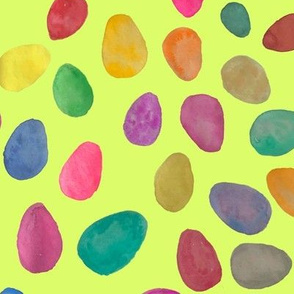 Watercolor Easter Eggs // Spring Green