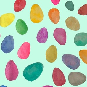 Watercolor Easter Eggs // Minty Green