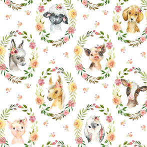 XL Country Floral Farm Animals– Girls Bedding Blanket, Pink Peach Blush Flower Wreath