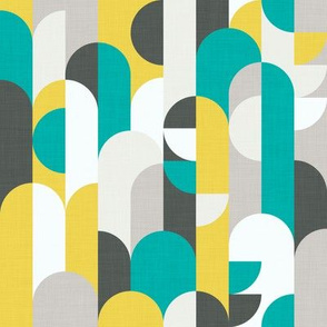 Yellow & Turquoise Abstract Forest/Subtle Linen Texture