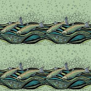 River Running Salmon in Moss