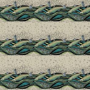 River Running Salmon on Sand