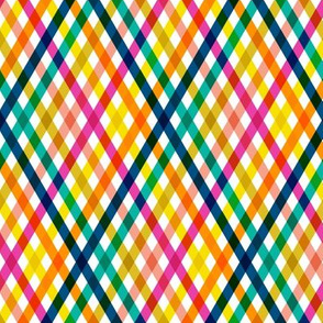 Birchdale (Multi Midi)    gingham plaid cross diamonds stripe spring summer lattice rainbow
