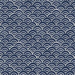 MINI Japanese Waves pattern fabric - seigaha fabric, wave fabric, wave pattern, ocean water fabric - navy