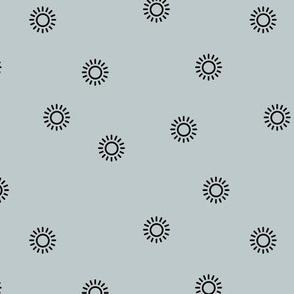 Let the sunshine in summer sunny day minimal Scandinavian style modern sun nursery design neutral moody cool blue
