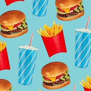 Burger, Soda & Fries Pattern - Blue