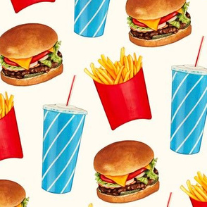 Burger And Fries Cheeseburger French Fry Fast Fabric Printed by Spoonflower BTY