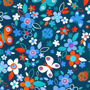 Ditsy Bugs and Butterflies Floral - Red Blue and White - large